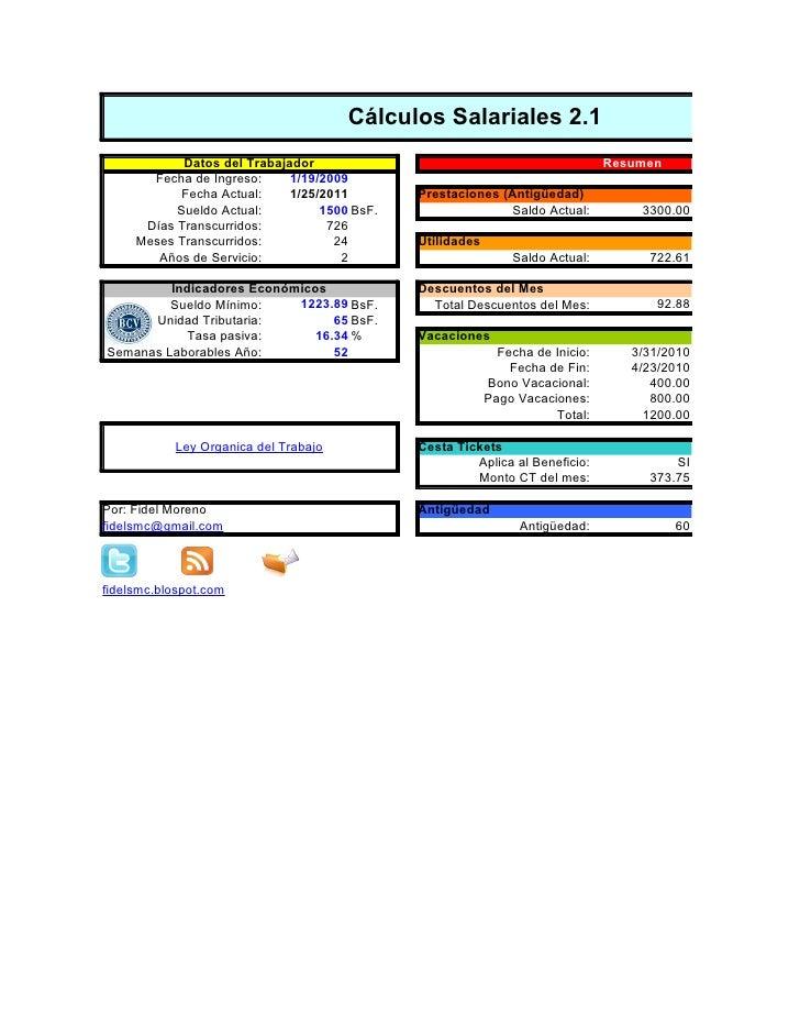 Cálculos Salariales 2.1            Datos del Trabajador                                                Resumen       Fecha...