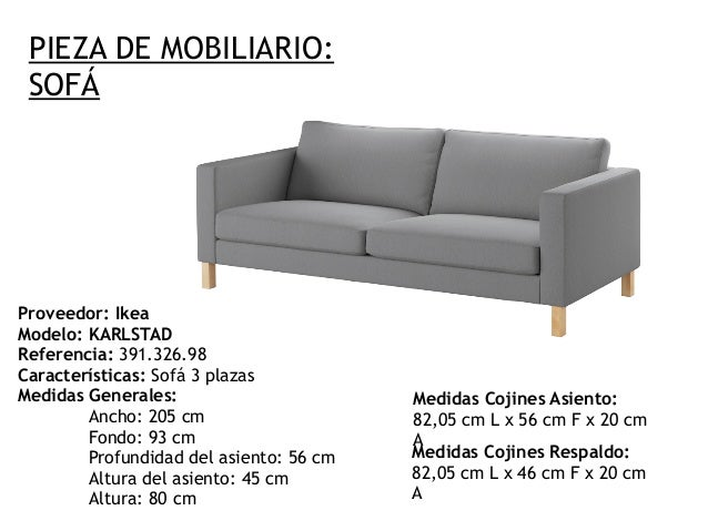 C lculo tela sof for Caracteristicas del mobiliario