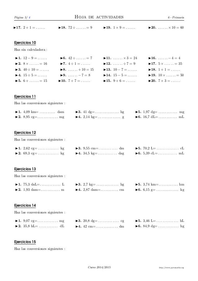 Ejercicios de Cálculo, conversión de unidades, múltiplos