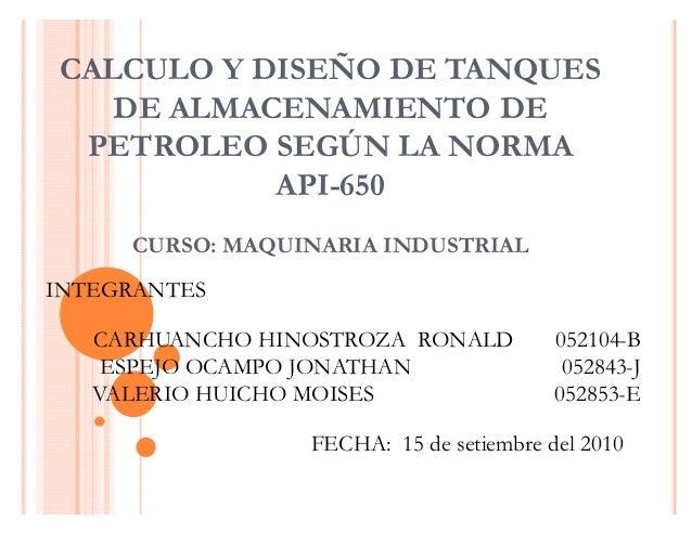 Normas para tanques de almacenamiento de diesel