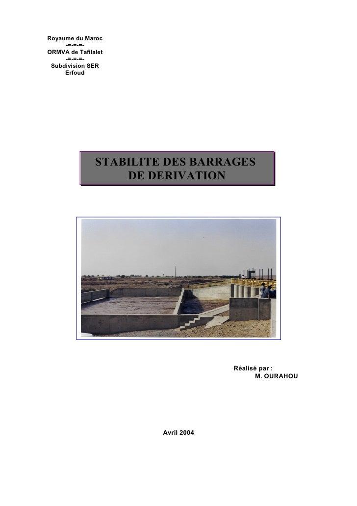 Royaume du Maroc      -=-=-=- ORMVA de Tafilalet      -=-=-=-  Subdivision SER      Erfoud                    STABILITE DE...