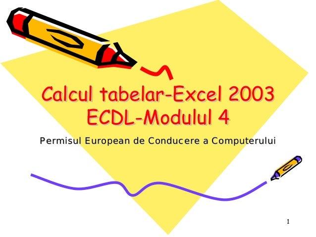 1 Calcul tabelar-Excel 2003 ECDL-Modulul 4 CalculCalcul tabelartabelar--Excel 2003Excel 2003 ECDLECDL--Modulul 4Modulul 4 ...