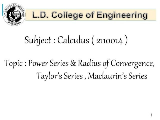 power series & radius of convergence