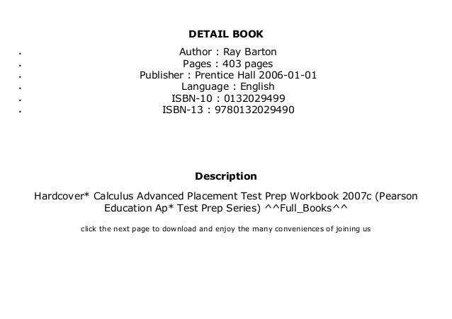 Hardcover* Calculus Advanced Placement Test Prep Workbook