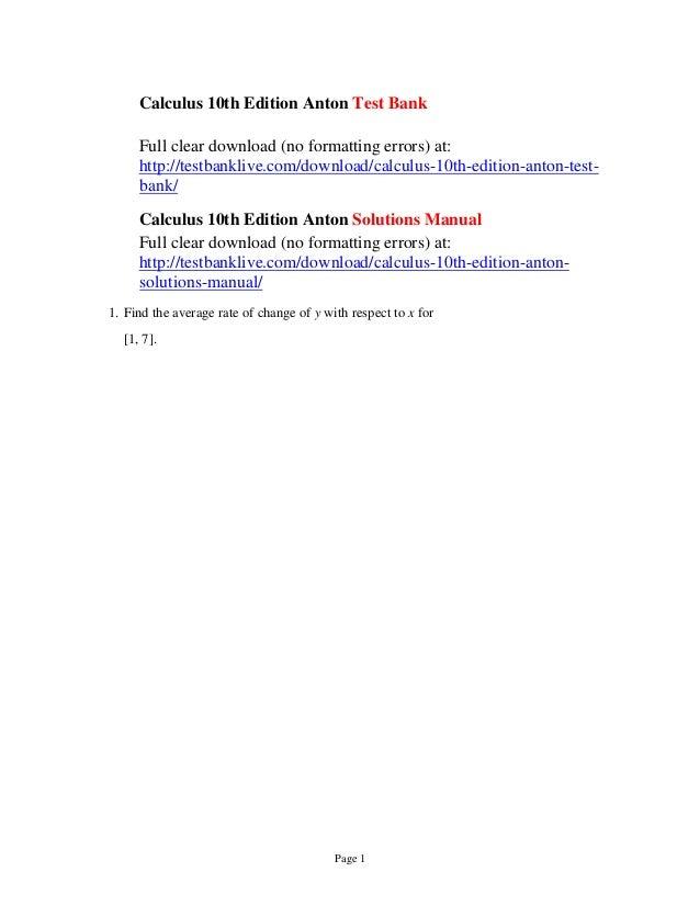 Multivariable Calculus 10th Edition Pdf