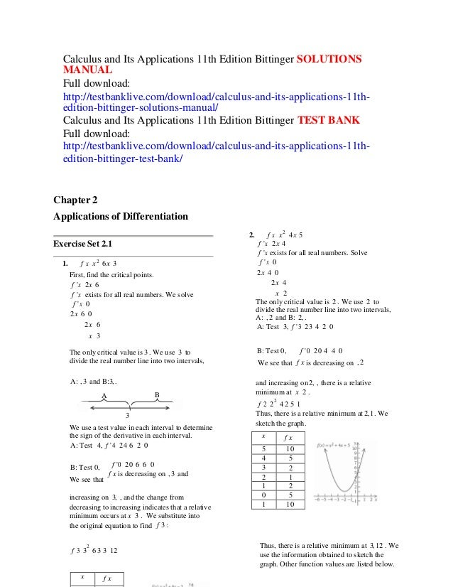 Calculus And Its Applications 11th Edition Bittinger Solutions Manual