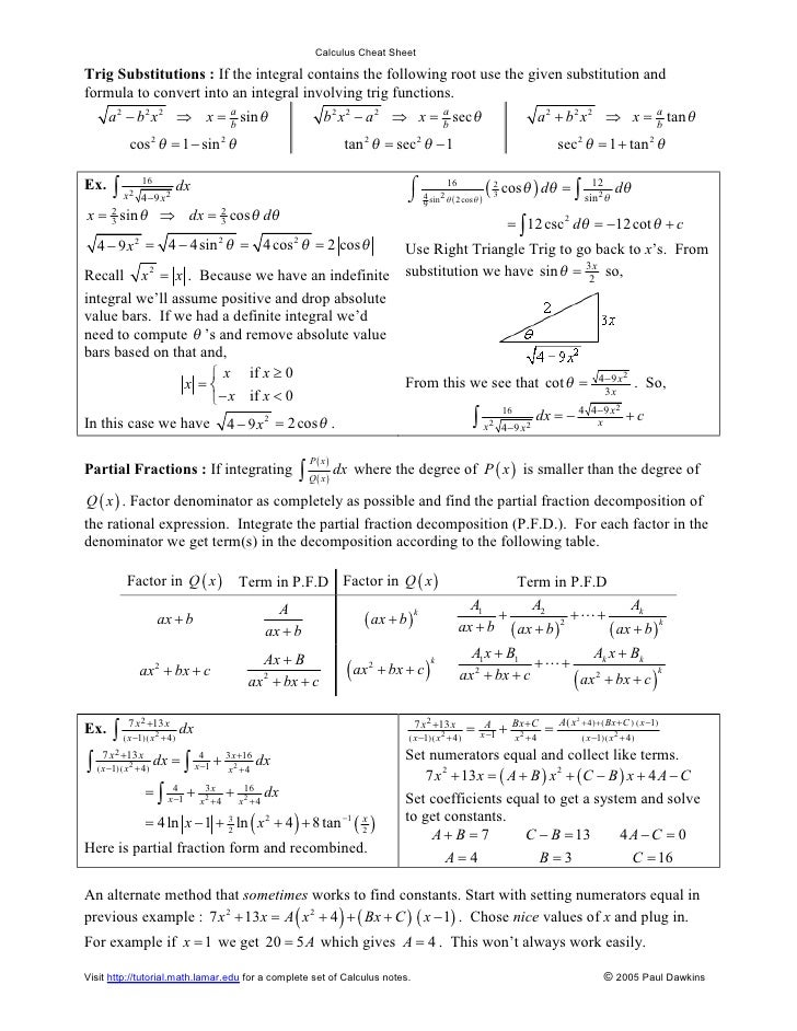 Calculus Trig Identities Cheat Sheet Pictures to Pin on ...