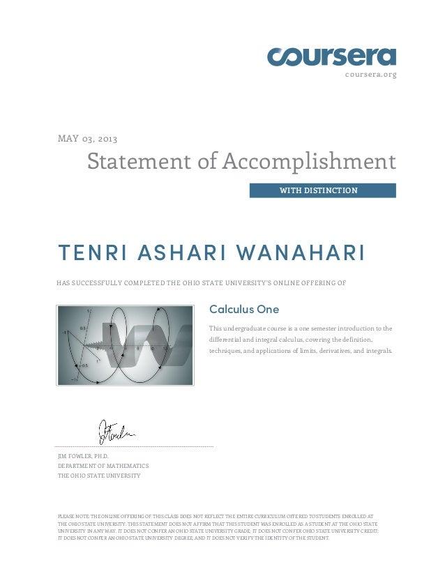 Coursera Certificate Calculus One