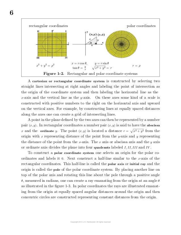 6rectangular coordinates polar coordinatesx2+ y2= ρ2 x = r cos θ,tan θ = yxy = r sin θx2 + y2 = rr = ρFigure 1-2...