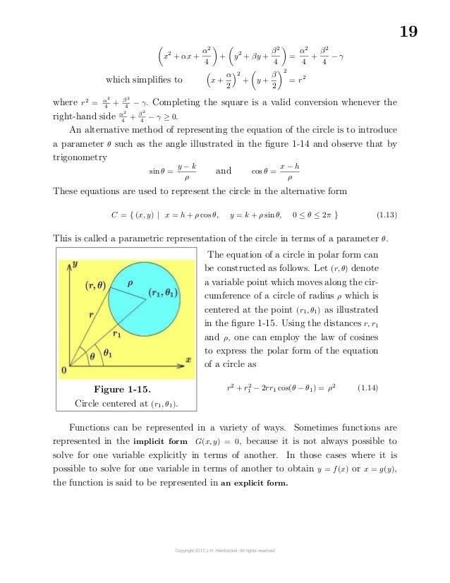 19x2+ αx +α24+ y2+ βy +β24=α24+β24− γwhich simplifies to x +α22+ y +β22= r2where r2= α24+ β24...