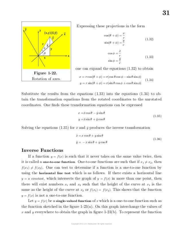 31Figure 1-22.Rotation of axes.Expressing these projections in the formcos(θ + φ) =xrsin(θ + φ) =yr(1.32)cos φ ...