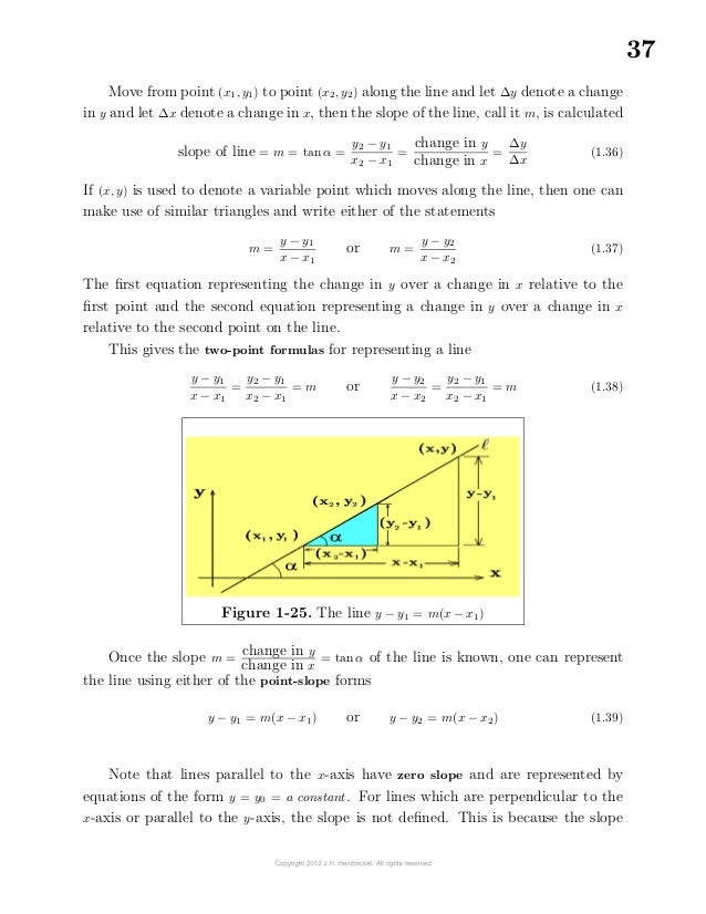 37Move from point (x1, y1) to point (x2, y2) along the line and let ∆y denote a changein y and let ∆x denote a change in...