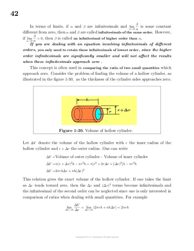 42In terms of limits, if α and β are infinitesimals and limα→0βαis some constantdifferent from zero, then α and β are ...