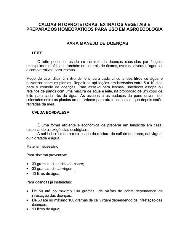CALDAS FITOPROTETORAS, EXTRATOS VEGETAIS E PREPARADOS HOMEOPÁTICOS PARA USO EM AGROECOLOGIA PARA MANEJO DE DOENÇAS LEITE O...