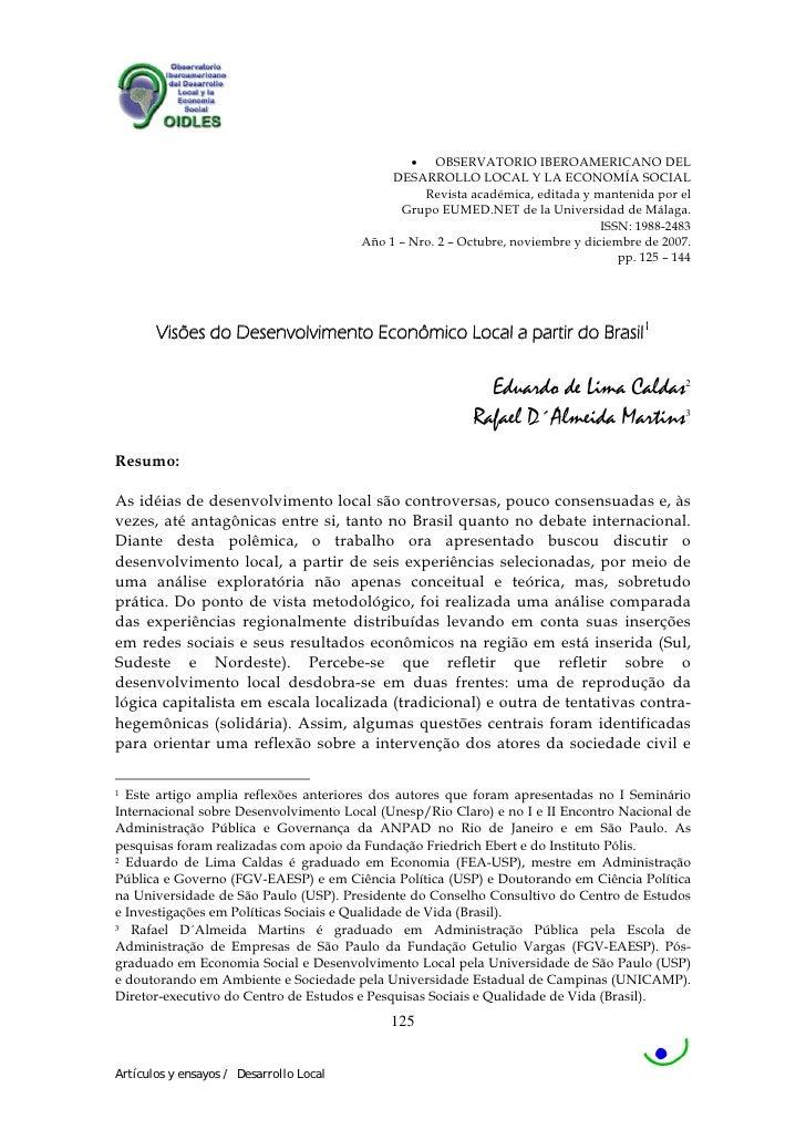 • OBSERVATORIO IBEROAMERICANO DEL                                               DESARROLLO LOCAL Y LA ECONOMÍA SOCIAL     ...