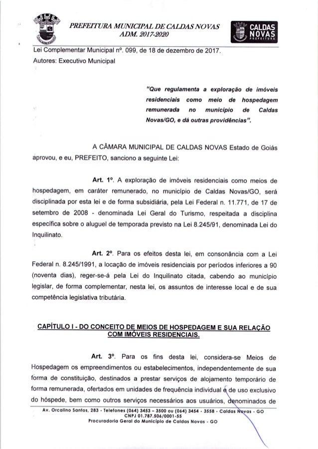 lei complementar-099-2017 - Regulamente AirB&B em Caldas Novas