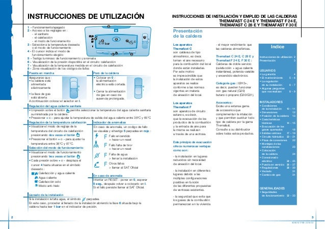 Calderas themafast manual usuario for Presion caldera saunier duval