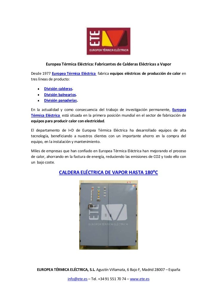 Europea Térmica Eléctrica: Fabricantes de Calderas Eléctricas a VaporDesde 1977 Europea Térmica Eléctrica fabrica equipos ...
