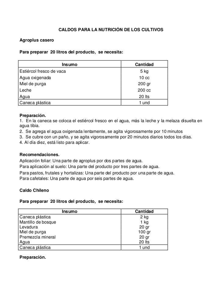 CALDOS PARA LA NUTRICIÓN DE LOS CULTIVOSAgroplus caseroPara preparar 20 litros del producto, se necesita:                 ...