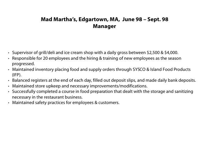 Ice Cream Shop Manager Resume