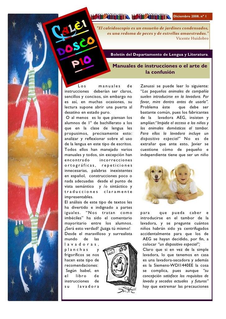 "Diciembre 2008. nº 1       lei Ca o                    ""Elcaleidoscopioesunensueñodejardinescondensados,          ..."