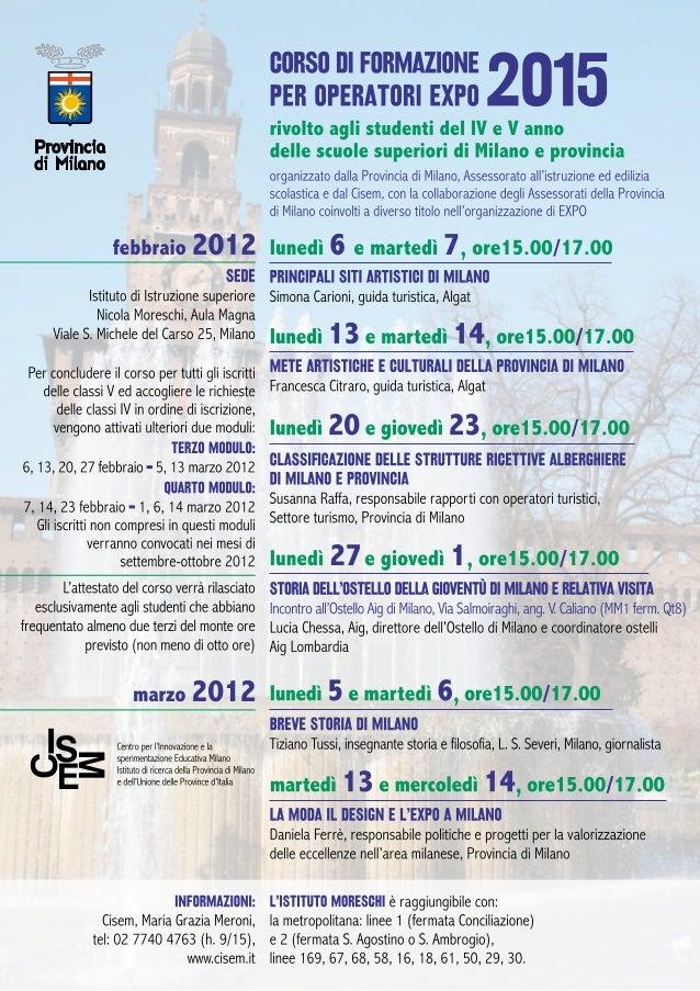 Calendario moduli 3 e  4 Corso Expo 2015