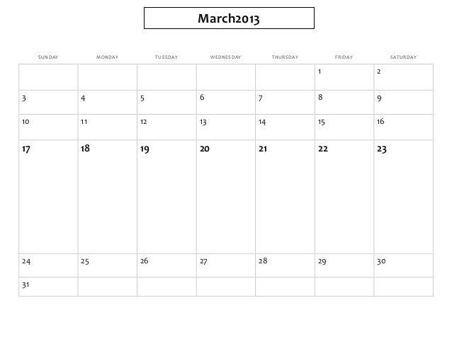 March2013     SUNDAY        MONDAY        TUESDAY        WEDNESDAY        THURSDAY        FRIDAY        SATURDAY          ...