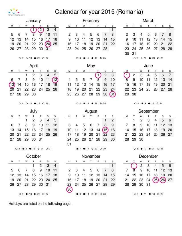 Calendar Year Quota Share : Calendar romania