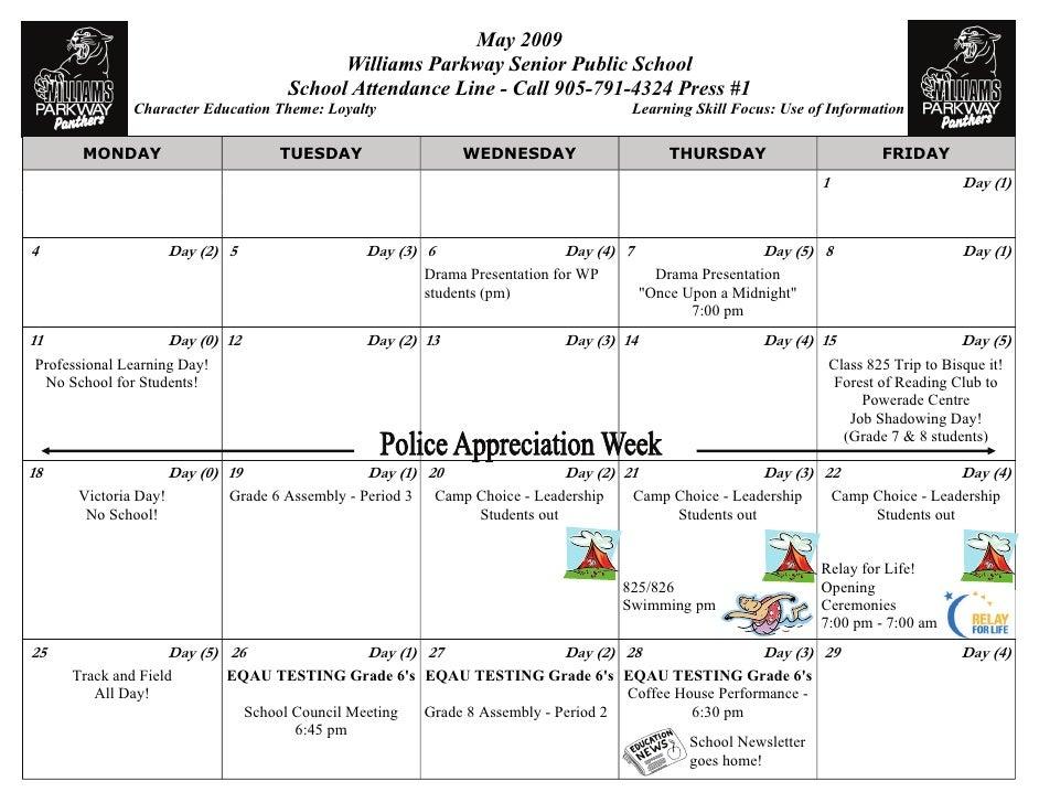 Calendar May 2009