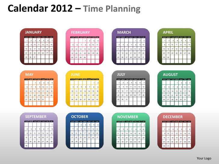 Calendar 2012 – Time Planning   JANUARY                                   FEBRUARY                                  MARCH ...