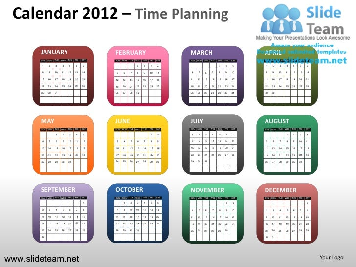 Calendar 2012 – Time Planning        JANUARY                                   FEBRUARY                                  M...