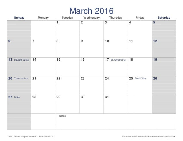 march calendar word
