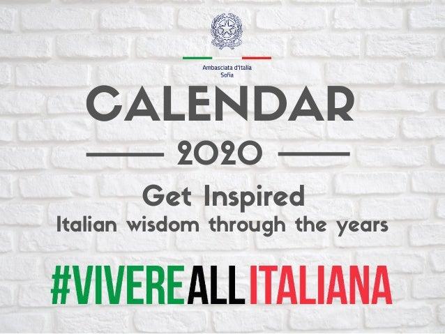 2020 Italian wisdom through the years Get Inspired CALENDAR