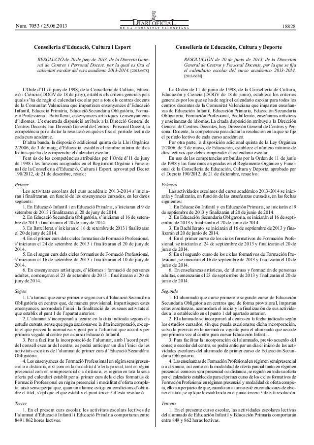 Conselleria d'Educació, Cultura i Esport Consellería de Educación, Cultura y Deporte RESOLUCIÓ de 20 de juny de 2013, de l...