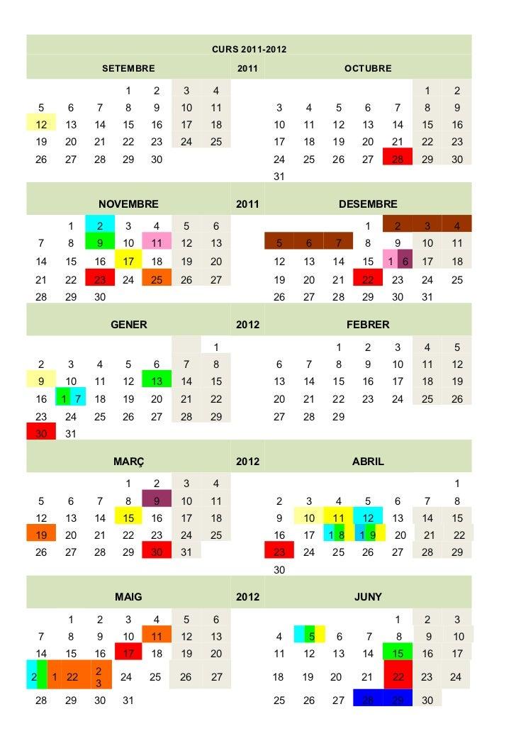 Calendari del plannig anual