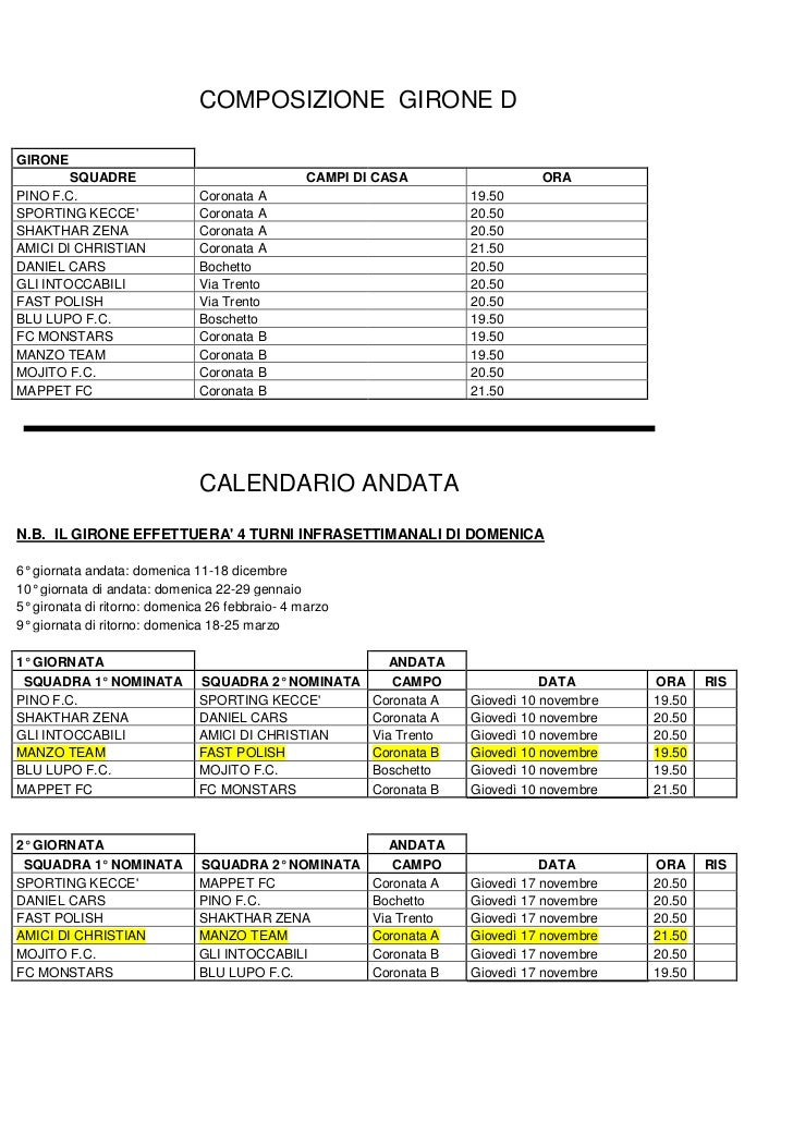 COMPOSIZIONE GIRONE DGIRONE        SQUADRE                                  CAMPI DI CASA                  ORAPINO F.C.   ...