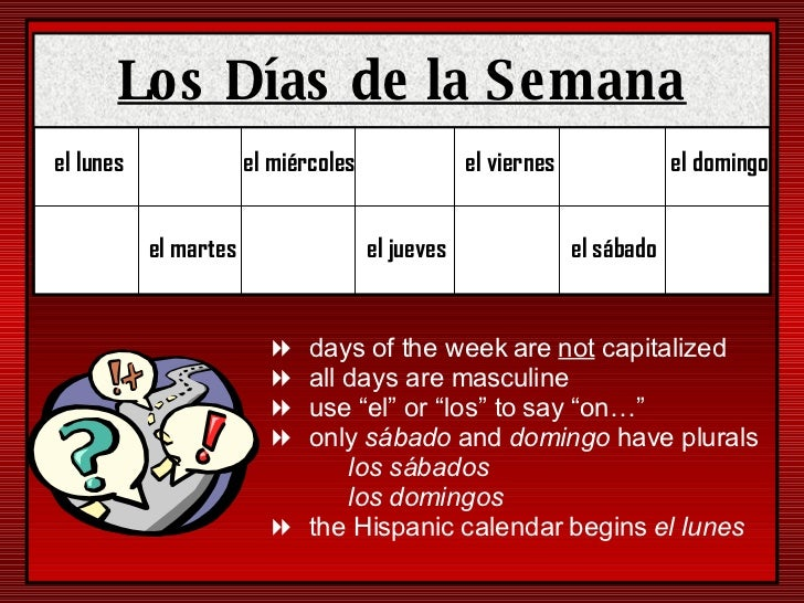 el lunes el martes el miércoles el jueves el viernes el sábado el domingo <ul><li>days of the week are  not  capitalized <...