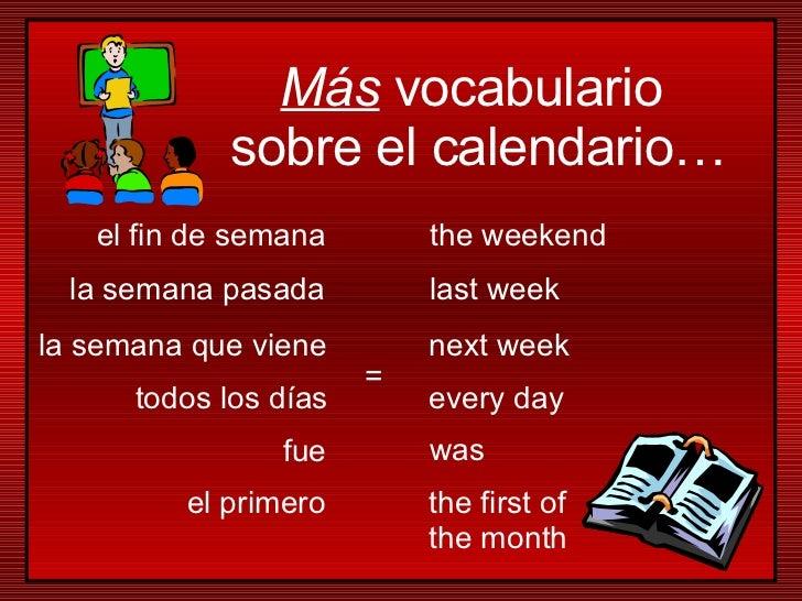 la semana que viene todos los días la semana pasada el primero el fin de semana next week every day last week the first of...