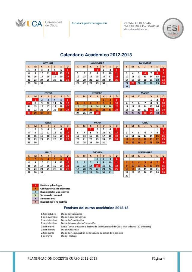 Uca Calendario Academico.Calendario