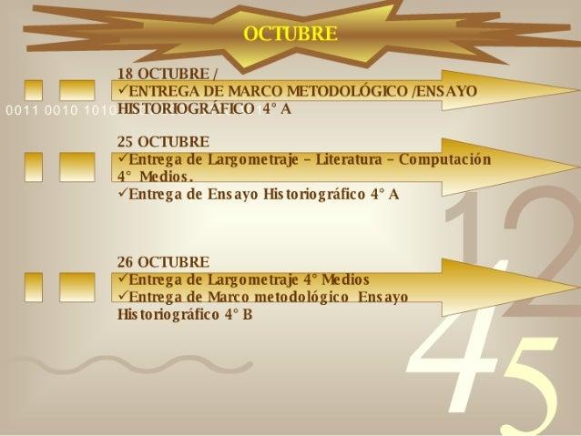 Calendario 4° Medios Slide 2