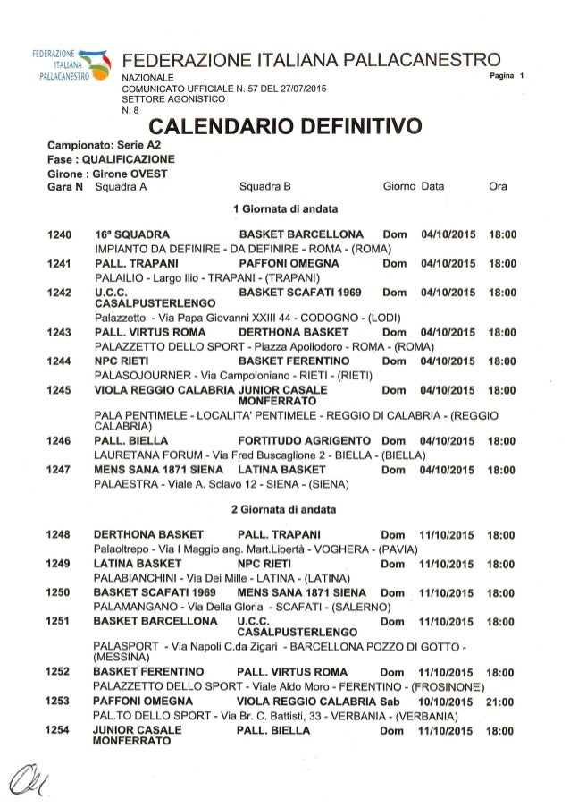 Calendario A2.Basket Calendario A2 Girone Ovest Stagione 2015 2016
