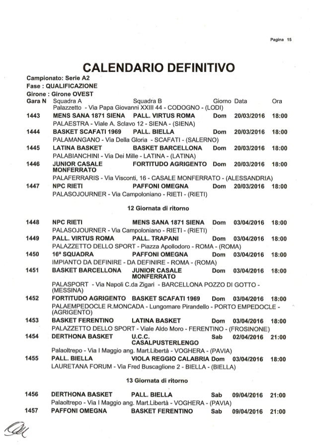 Calendario Basket A2 Ovest.Basket Calendario A2 Girone Ovest Stagione 2015 2016