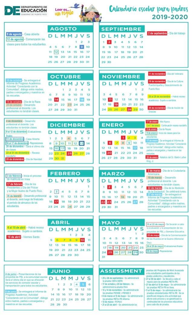 Calendario Diciembre 2020 Navideno.Calendario Escolar Padres 2019 2020