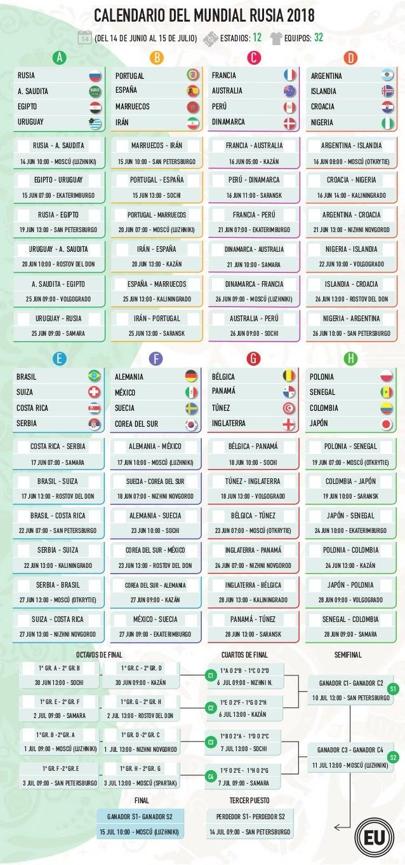 Calendario Mundial Rusia 2018.Calendario Mundial Rusia 2018 Horario Ecuador