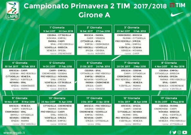 Calendario Entella.Calendario Primavera Tim 2 2017 2018