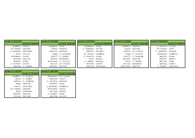 Calendario Primeira Liga.Calendario Primeira Liga 2014 2015