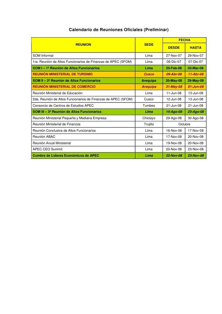 Calendario de Reuniones Oficiales (Preliminar)                                                                            ...