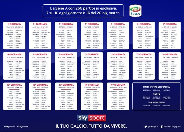 Calendario Partite Calcio Serie A.Calendario Serie A Calcio 2018 2019