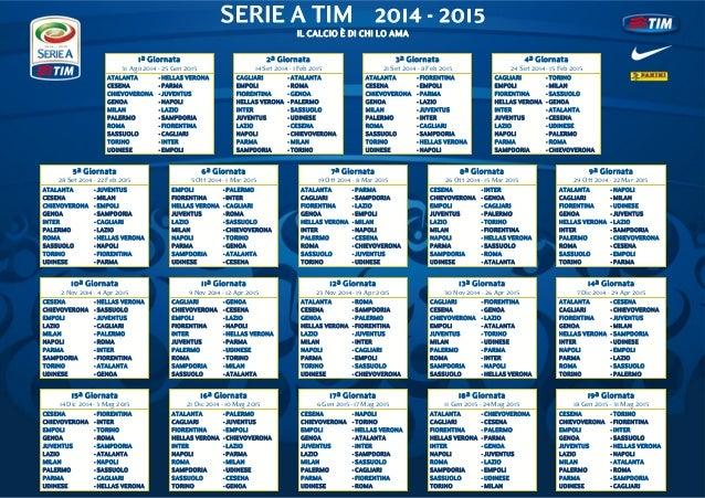 Serie A Tim Calendario.Calendario Serie A Calcio 2014 2015