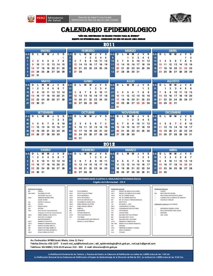 Calendario Epidemiologico 2011-2012